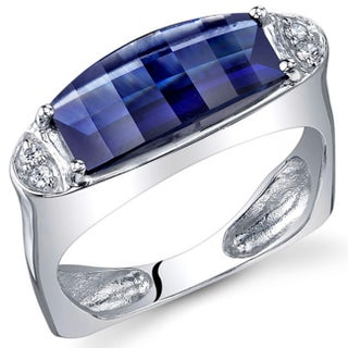 Oravo Sterling Silver Barrel-cut Gemstone Rhodium Finished Ring (More options available)