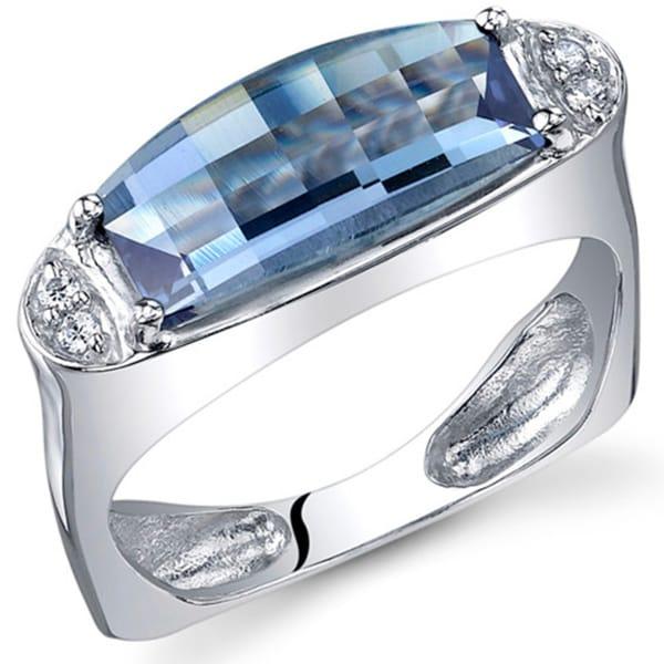 Oravo Sterling Silver Barrel-cut Gemstone Rhodium Finished Ring