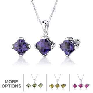 Sterling Silver Checkerboard-cut Gemstone Jewelry Set