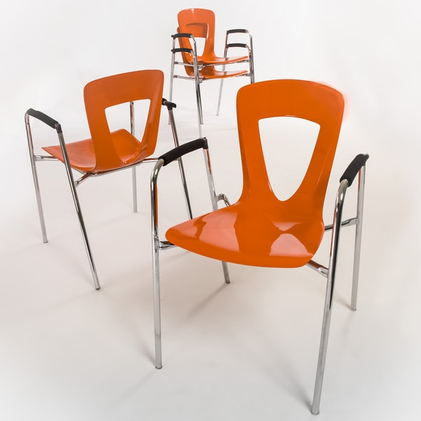Kennedy Orange Modern Chair (Set of 4) by Christopher Knight Home