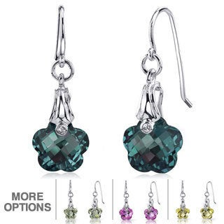 Oravo Sterling Silver Gemstone Flower Dangle Earrings