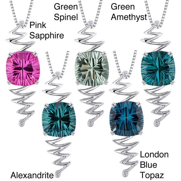 Sterling Silver Cushion-cut Gemstone Necklace