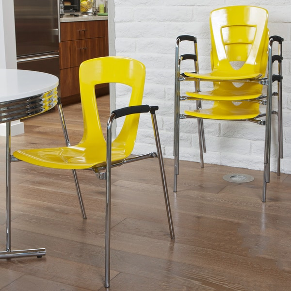 Kennedy Yellow Modern Chair (Set of 4) by Christopher Knight Home