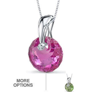 Oravo Sterling Silver Spherical Gemstone Pendant Necklace