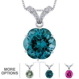 Oravo Sterling Silver Octagon Gemstone Pendant Necklace