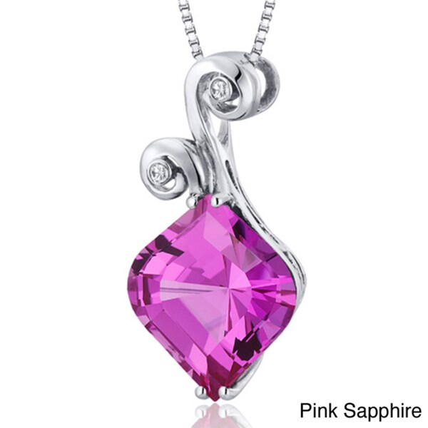 Oravo Sterling Silver Onion-cut Gemstone Necklace