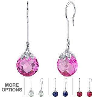 Oravo Sterling Silver Gemstone Checkerboard Dangle Earrings