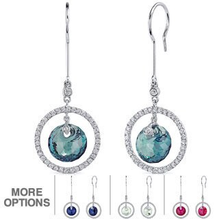 Oravo Sterling Silver Gemstone Circle of Life Dangle Earrings