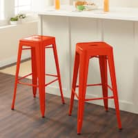 Carbon Loft Tabouret 30-inch Tangerine Metal Bar Stools (Set of 2)
