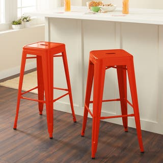 Tabouret 30 Inch Tangerine Metal Bar Stools Set Of 2
