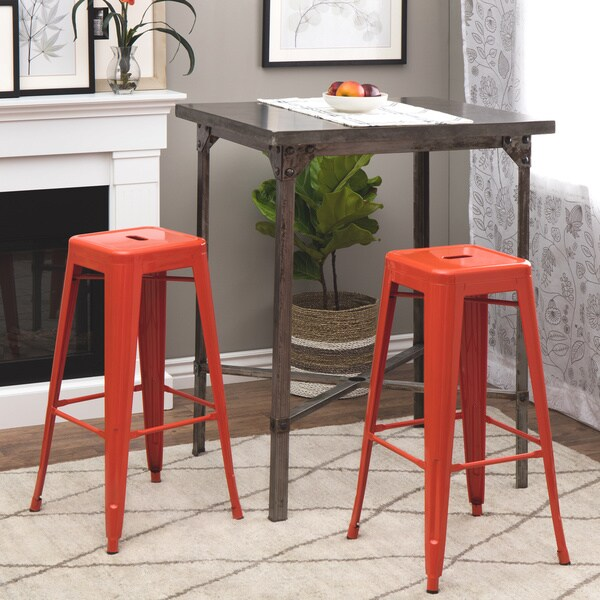Nice Tabouret 30 Inch Tangerine Metal Bar Stools (Set Of 2)