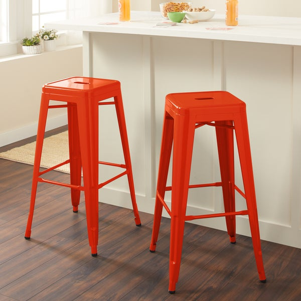 Tabouret 30-inch Tangerine Metal Bar Stools (Set of 2)
