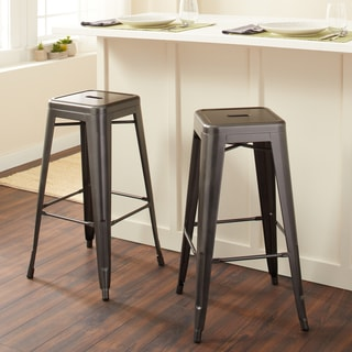 tabouret 30inch charcoal grey metal bar stools set of 2