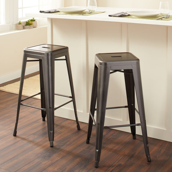 Tabouret 30-inch Charcoal Grey Metal Bar Stools (Set of 2)