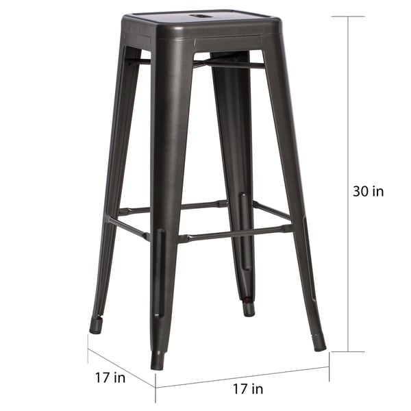 Tabouret 30-inch Charcoal Grey Metal Bar Stools (Set of 2) - Free Shipping Today - Overstock.com - 14697437  sc 1 st  Overstock.com & Tabouret 30-inch Charcoal Grey Metal Bar Stools (Set of 2) - Free ... islam-shia.org
