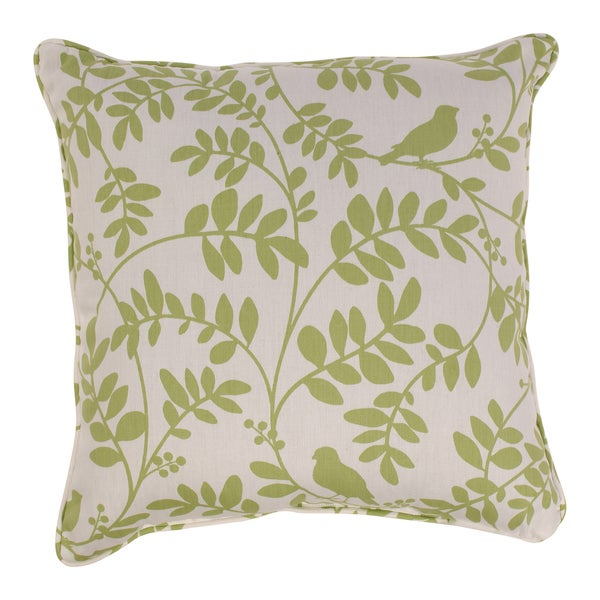 Botany 18-inch Corded Throw Pillow in Green/ White
