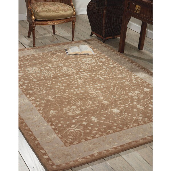 Nourison Hand-tufted Symphony Bordered Warm Taupe Rug (7'6 x 9'6)