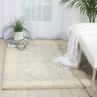 Nourison Hand-tufted Symphony Bordered Blue Mist Rug (7'6 x 9'6)