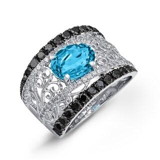 Sterling Silver Blue Topaz and 1 1/4ct TDW Diamond Band (J-K, I2-I3)