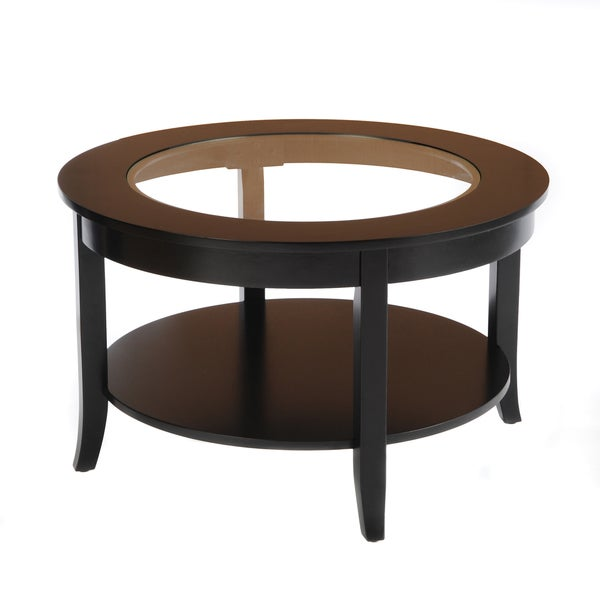 Bianco Collection Black 30-inch Round Glass Top Coffee