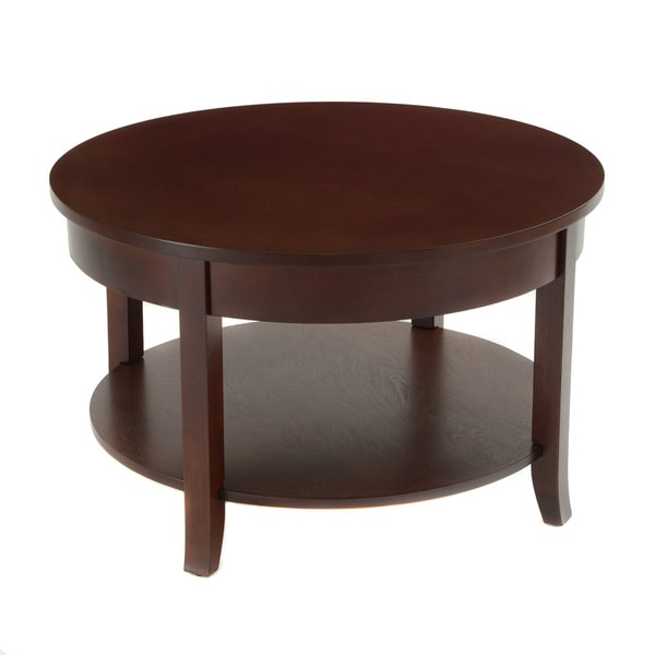 Bianco Collection Espresso 30-inch Round Lower Shelf Coffee Table