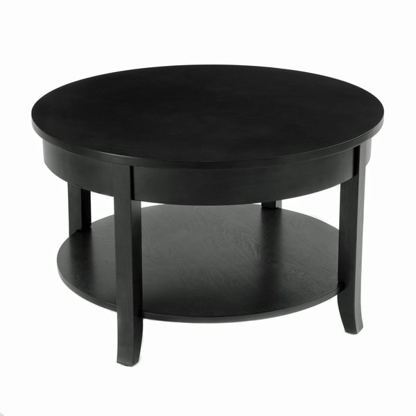 Bianco Collection Black 30-inch Round Coffee Table