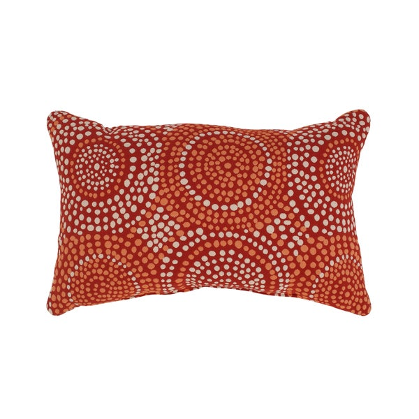 'Mosaic' Red Rectangular Throw Pillow