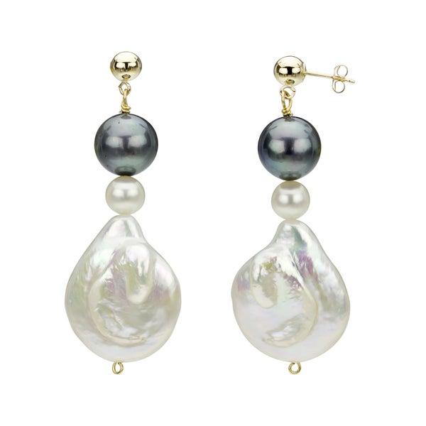 14k Yellow Gold White and Black Freshwater Pearl Drop Earrings (6-25 mm). Opens flyout.