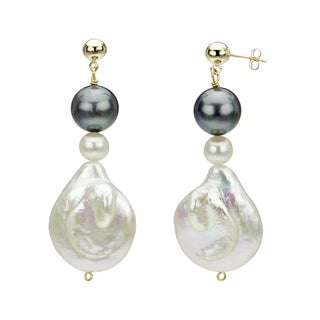 14k Yellow Gold White and Black Freshwater Pearl Drop Earrings (6-25 mm)