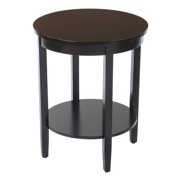 Bianco Collection Black Round Wood Top Accent Table