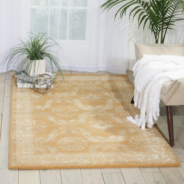 """Nourison Hand-tufted Symphony Bordered Gold Rug - 5'6"""" x 7'5"""""""