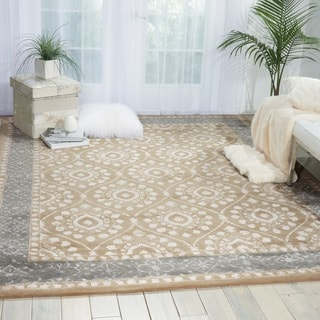 Nourison Hand-tufted Symphony Brocade Taupe Rug (5'6 x 7'5)