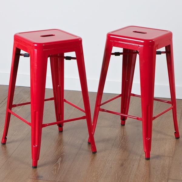 Zara Red Steel Counterstools (Set of 2)