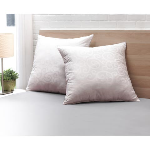 Candice Olson Cotton Jacquard 28-inch Euro Pillows (Set of 2) - White