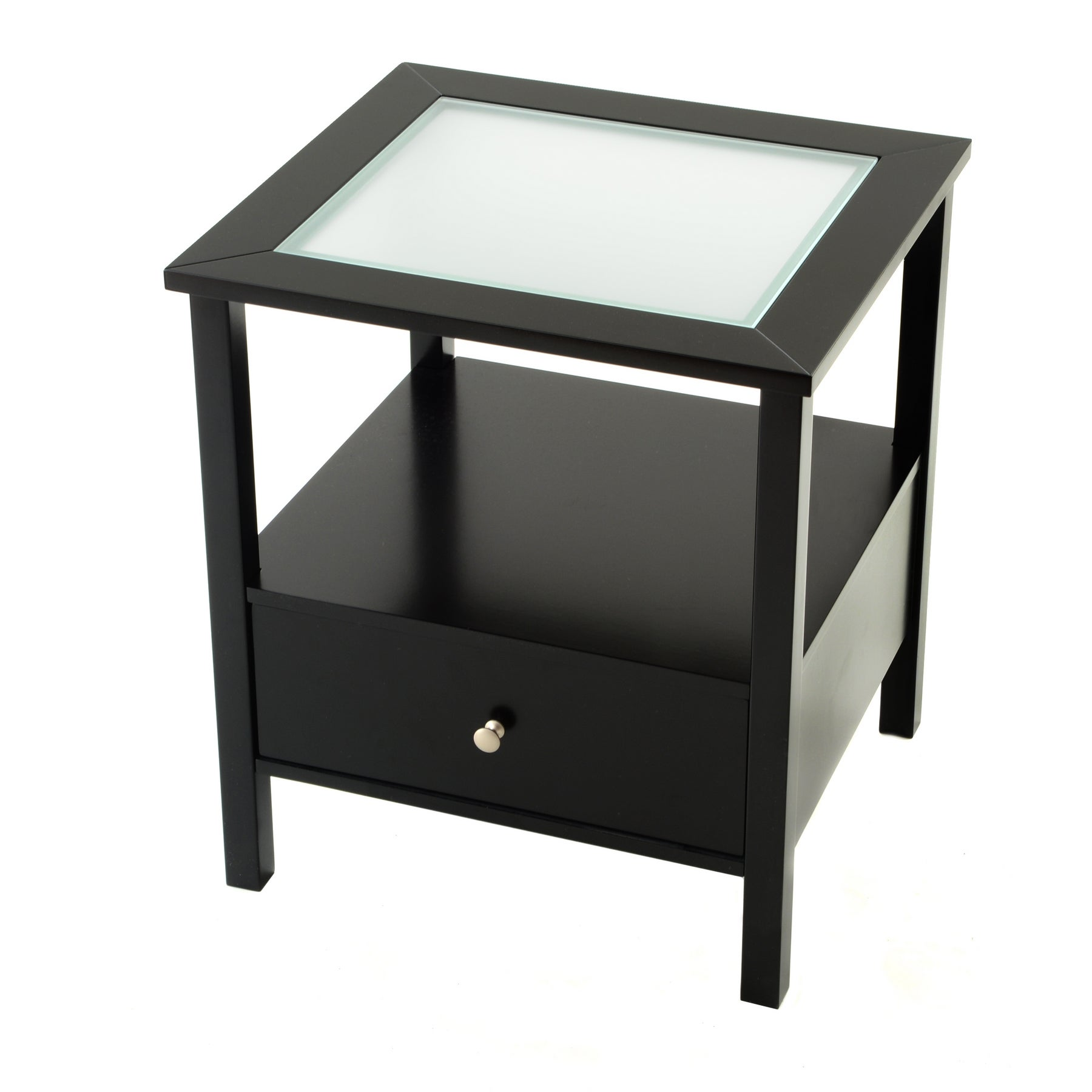Bianco Collection Black Glass Top End Table Free