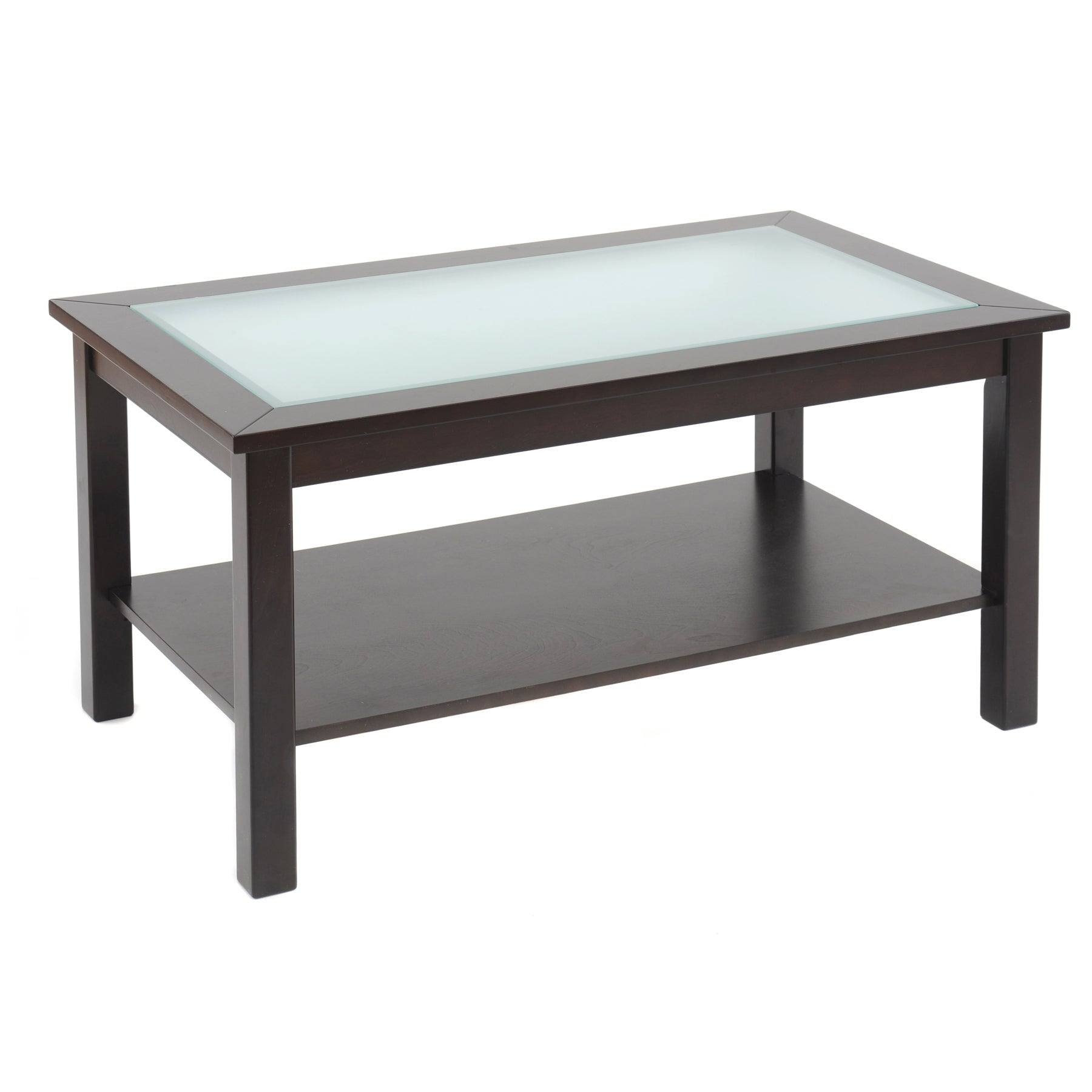 Bianco Collection Espresso Glass Top Coffee Table