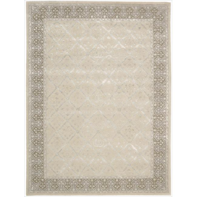 Nourison Hand-tufted Symphony Brocade Bordered Sand Rug (5'6 x 7'5)