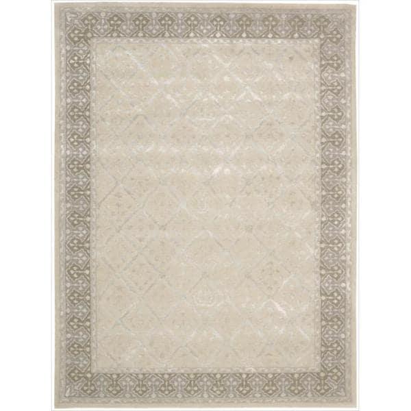 "Nourison Hand-tufted Symphony Brocade Bordered Sand Rug (5'6 x 7'5) - 5'6"" x 7'5"""