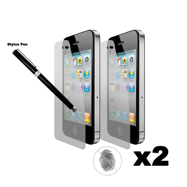 Apple iPhone 4S/ 4 Anti-Fingerprint Screen Protector (Pack of 2) with Capacitive Stylus Rollerball Pen