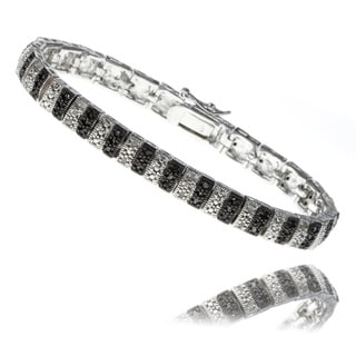 Finesque Silverplated 1ct TDW Black and White Diamond Stripe Bracelet