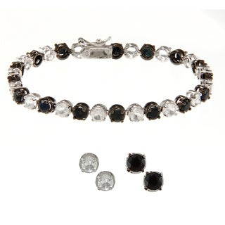 Dolce Giavonna Silverplated Black Sapphire and White Topaz Bracelet and 2 Pairs Earring Set