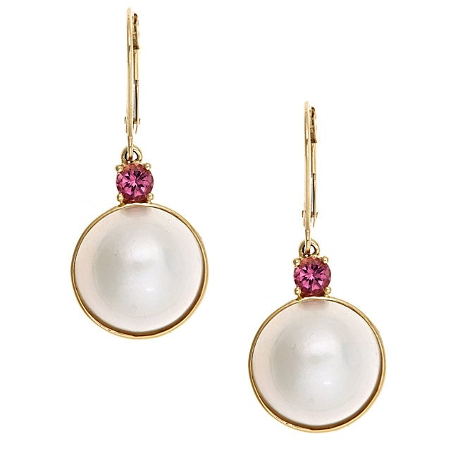Anika and August 14k Yellow Gold Mabe Pearl and Pink Tourmaline Earrings (13 mm)