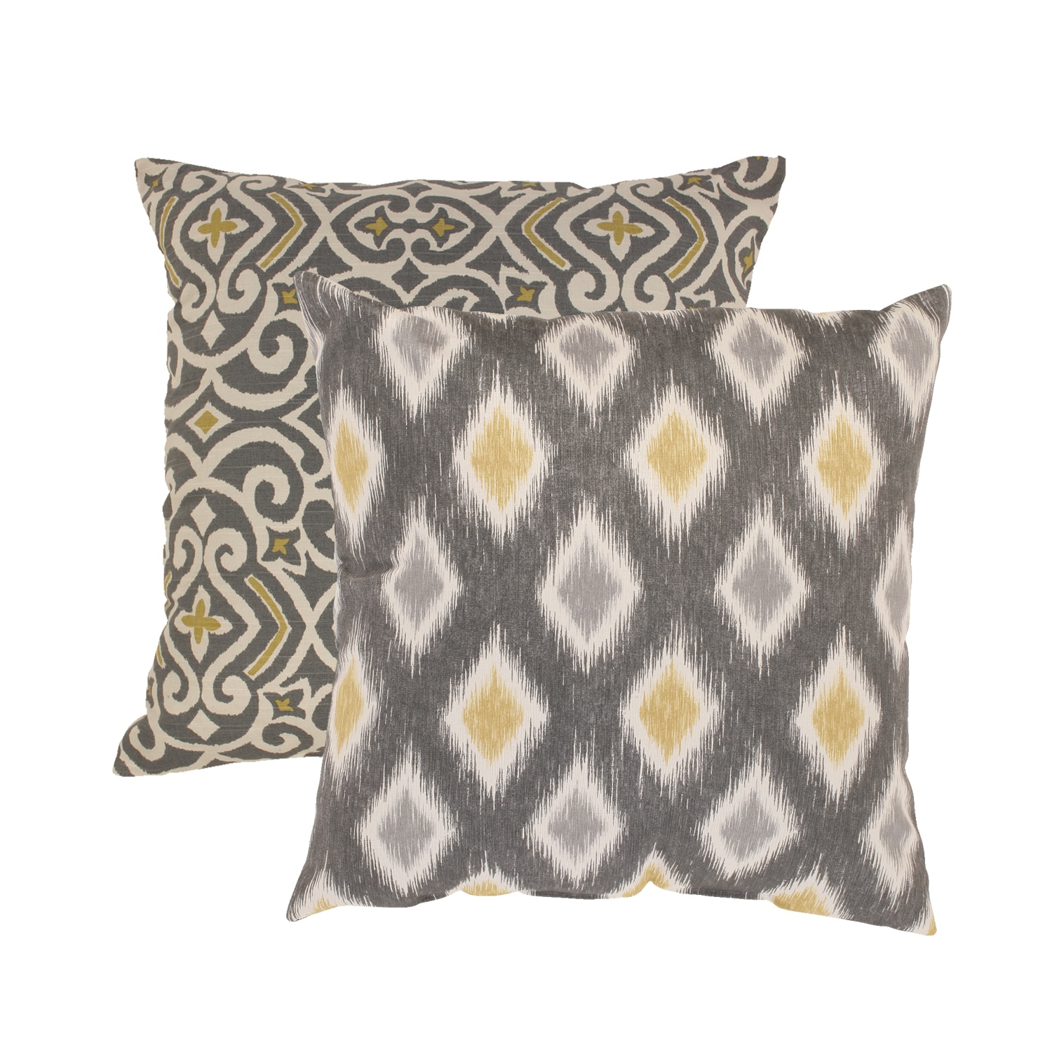 Pillow Perfect Damask and Rodrigo Square Throw Pillows Set of