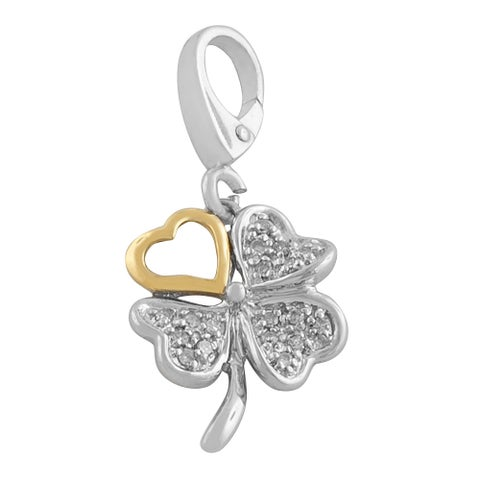 Fremada Sterling Silver and 14k Yellow Gold Lucky Clover Charm