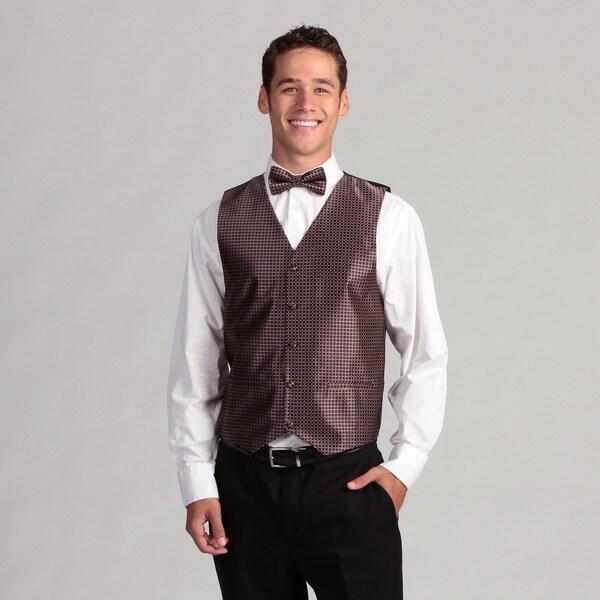 Ferrecci Men's Blue Brown Tile 3-piece Vest Set