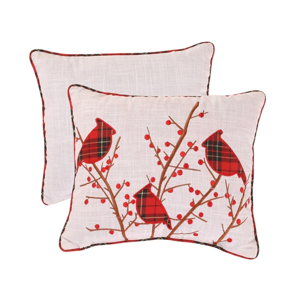 Holiday Cardinal Holly-corded Accent Pillow (12 x 14)
