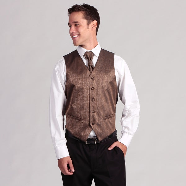 Ferrecci Men's 4-piece Brown Corrugated Vest Set