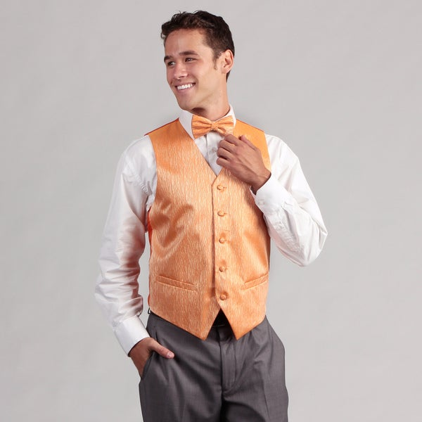 Ferrecci Men's Orange 4-piece Vest Set