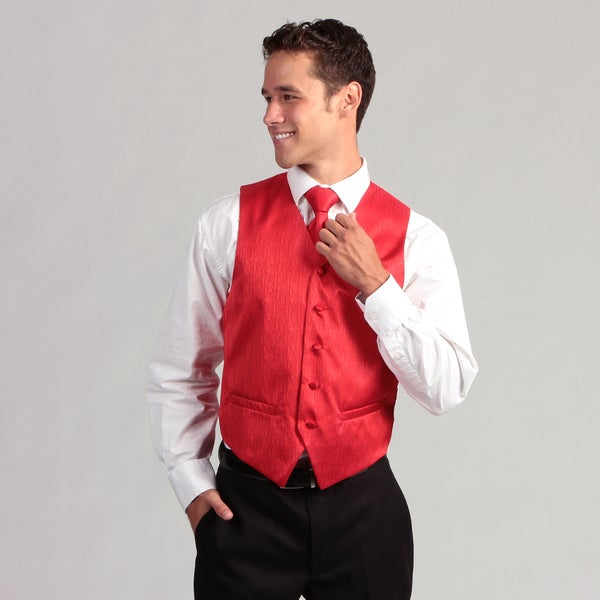 Ferrecci Men's 4-piece Red Corrugated Vest Set