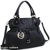 Anais Gvani Drawstring Shoulder Bag with Logo Charm